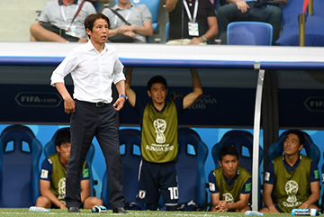 VOLGOGRAD, RUSSIA - JUNE 28:  Japan head coach Akira Nishino looks on during the 2018 FIFA World Cup Russia group H match between Japan and Poland at Volgograd Arena on June 28, 2018 in Volgograd, Russia.  (Photo by Etsuo Hara/Getty Images)